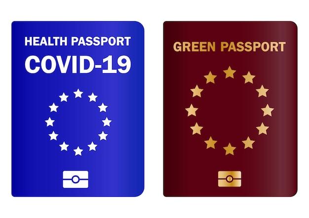 예방 접종을 받은 건강 여권. 여행 면역 문서. 질병에 대한 예방 접종을 확인하고 예방 접종 여권 또는 면역을 도입하는 개념. 유럽 연합에서 covid-19를 제어하십시오. 벡터
