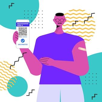스마트폰 화면에서 디지털 면역 여권을 사용하여 예방 접종을 받은 남자는 위험이 없는 covid-19 전염병
