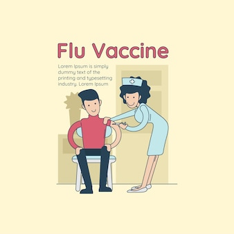 Vaccinating a hipster man against flu.