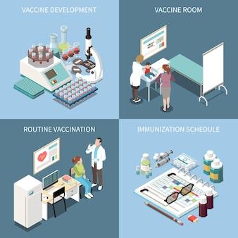 ワクチン開発ワクチン開発のワクチン接種2x2デザインコンセプトセット定期的なワクチン接種と免疫スケジュール正方形のアイコン等角図