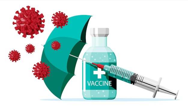 코로나 바이러스에 대한 예방 접종. 의료용 주사기 주입 예방 접종