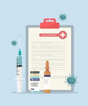 Концепция вакцинации и иммунизации медицинский бланк со шприцем и вакцинами