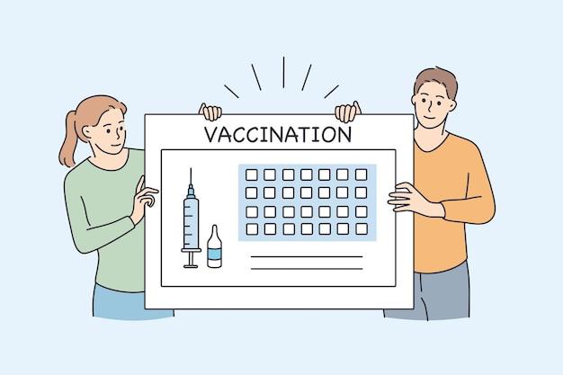 パンデミックの概念の間の予防接種カレンダーとヘルスケア。注射器とワクチン接種レタリングベクトルイラストと巨大なボードの近くに立っている若者の女の子と男の子