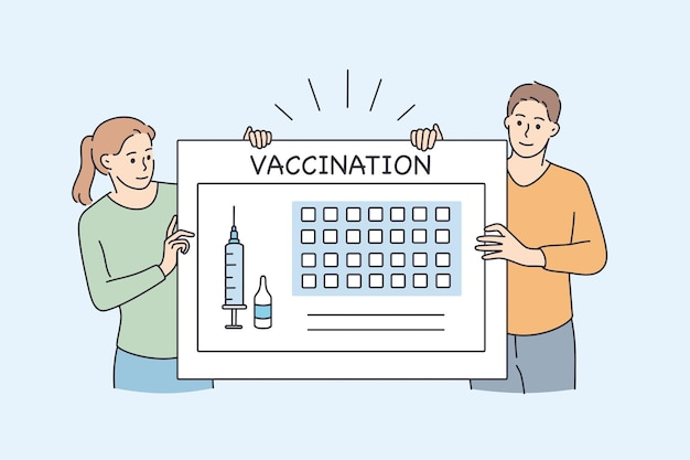 Vaccination calendar and healthcare during pandemic concept. young people girl and boy standing near huge board with syringe and vaccination lettering vector illustration