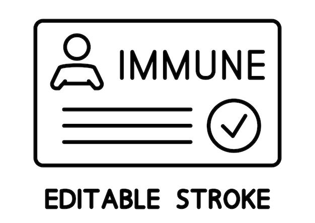 코로나바이러스감염증-19 예방 접종 증명서, 체크 표시, 의료 카드 또는 여권이 전염병 시대 여행을 위한 것입니다. 면역카드. 예방 접종 개념입니다. 편집 가능한 스트로크. 벡터 개요 아이콘