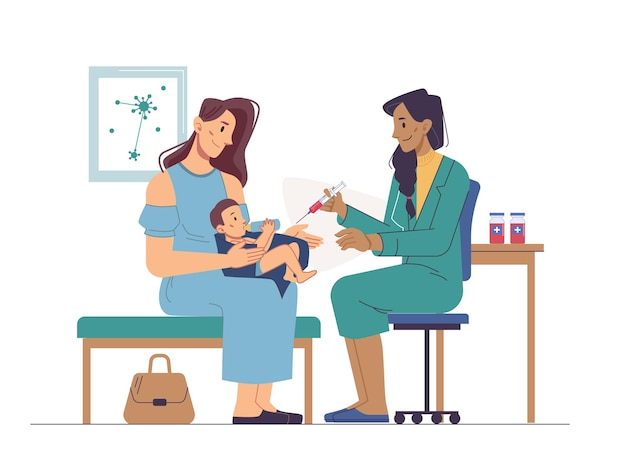 Vaccination in clinic or hospital newborn baby on mothers knees immunization to prevent coronavirus
