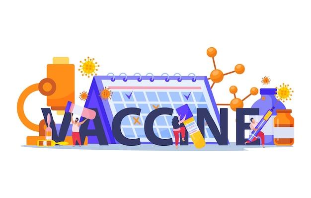 Цветная плоская композиция с большим заголовком и шприцем, пробирки, календарь, микроскоп, иллюстрация