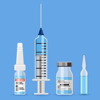 예방 접종 개념 배너입니다. 주사기, 백신 바이알, 앰플로 예방 접종 시간. 평면 스타일 아이콘입니다. 고립 된 벡터 일러스트 레이 션
