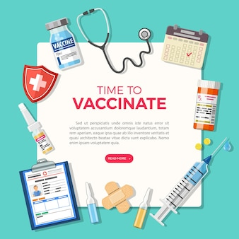 Vaccination concept banner. time to vaccinate medical document with syringe, vaccine bottle, patient medical card. flat style icon. vector illustration
