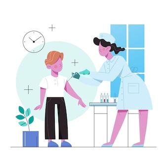 予防接種のコンセプトです。ワクチン注射を持つ少年。病気からの保護のためのワクチン注射のアイデア。医療とヘルスケア。予防接種のメタファー。図