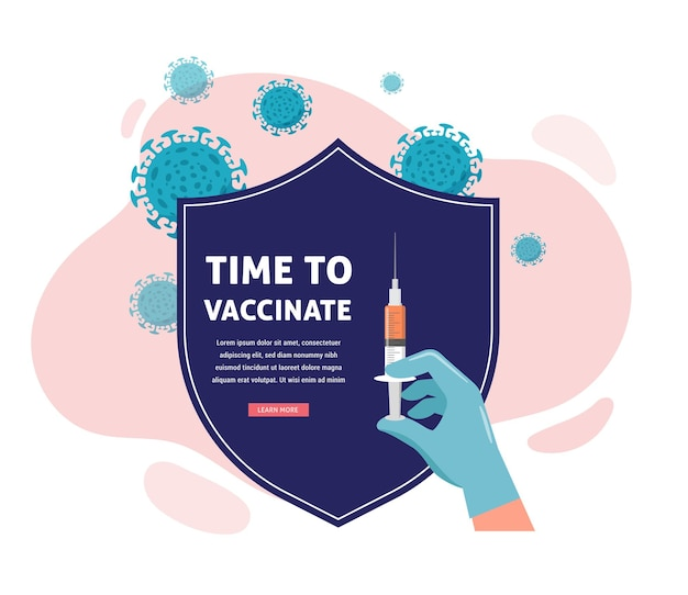 Дизайн концепции вакцинации. пора вакцинировать баннер - щит и шприц с вакциной от covid-19