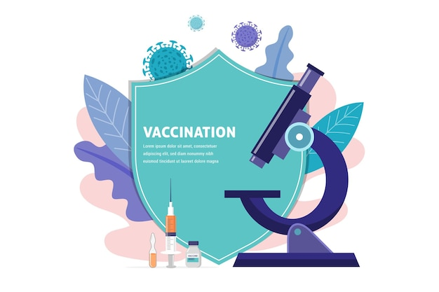 Vaccination concept design. time to vaccinate banner - microscope and syringe with vaccine for covid