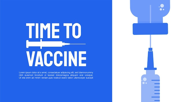 Vaccination concept design time to vaccinate banner  microscope and syringe with vaccine