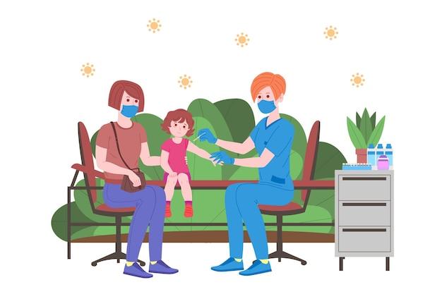 免疫の健康のための予防接種の概念。ワクチン抗covid-19。医師は子供たちにウイルス対策ワクチンを注射し、次に招待します。子供のヘルスケア、コロナウイルス、予防と免疫