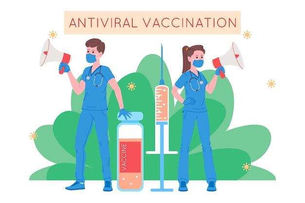 免疫の健康のための予防接種の概念。ワクチン抗covid-19。医師は、病院の患者にインフルエンザワクチンを注射し、次に招待します。ヘルスケア、コロナウイルス、予防と免疫