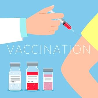 Иллюстрация концепции вакцинации с врачом и пациентом