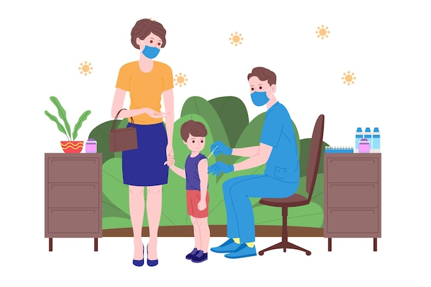 Vaccination concept for immunity health. vaccine anti covid-19. doctors makes an injection of antivirus vaccine to kids and inviting next. child healthcare, coronavirus, prevention and immunize