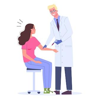 予防接種のコンセプトです。ワクチン注射を持つ女性。