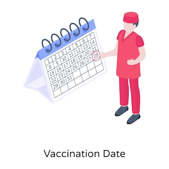 Vaccination date in an isometric vector download