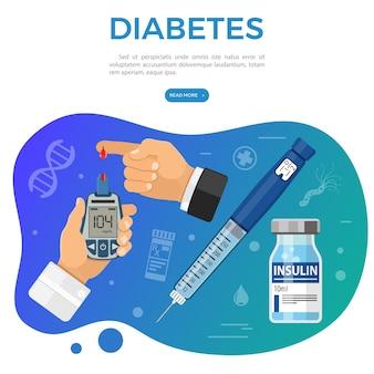 Vaccination, diabetes, immunization banner with flat icons blood glucose meter, insulin pen syringe, vaccine bottle. vector illustration