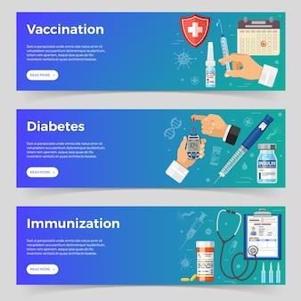예방 접종, 당뇨병, 평평한 아이콘 주사기, 혈당 측정기, 인슐린 펜 주사기, 백신 병, 인슐린 유리병이 있는 예방 접종 수평 배너. 벡터 일러스트 레이 션