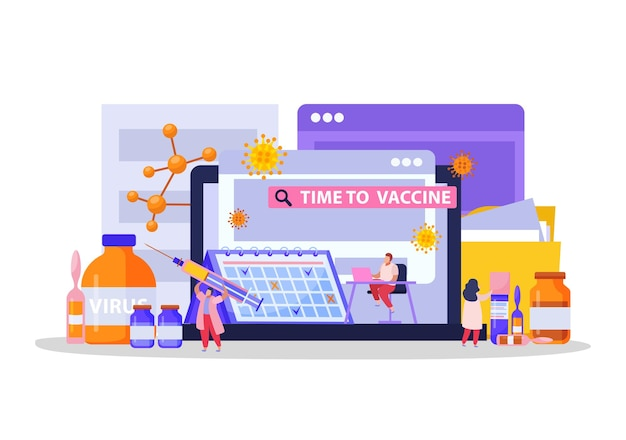 Vaccination flat composition with time to vaccine headline and medical tools syringes drugs and test tubes illustration