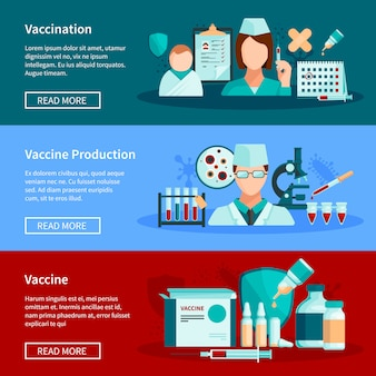 Vaccination flat horizontal banners with vaccine production children vaccination  and set of ready to use vaccine products design compositions vector illustration