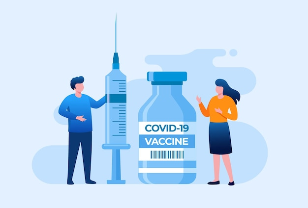 Vaccination flat vector illustration banner template