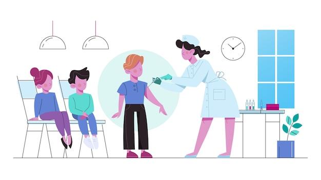 子供のための予防接種。ワクチン注射を持つ少年。病気からの保護のためのワクチン注射のアイデア。医療とヘルスケア。予防接種のメタファー。