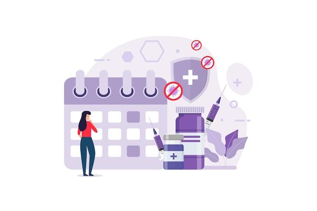 免疫健康デザインコンセプトベクトルグラフィックの予防接種