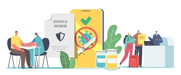 旅行者のための予防接種、covid免疫診断書の概念。健康パスポートのワクチンを取得する男性と女性のキャラクター。空港パス登録の方。漫画のベクトル図