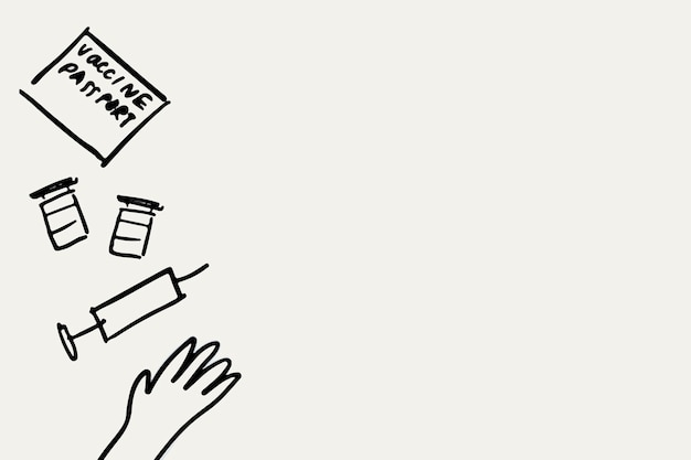 예방 접종 손으로 그린 벡터, 건강 개념