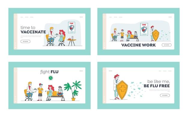 予防接種ヘルスケア医師のキャラクターは子供にワクチン注射を置きます
