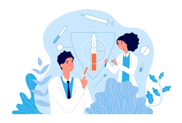 Vaccination. hospital team using vaccines. clinic health, doctors create flu treatment. healthcare and immunology vector concept. medical vaccination against virus, vaccine disease illustration
