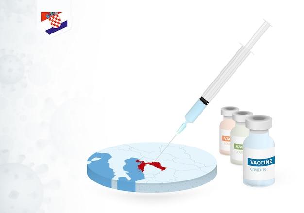 クロアチアでのさまざまな種類のcovid-19ワクチンのワクチン接種。クロアチアの地図でのワクチン注射の概念。
