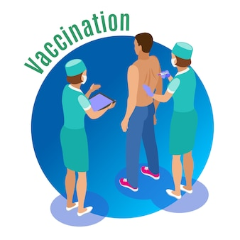 Vaccination isometric illustration with human characters of medical attentants giving jab to male patient with text