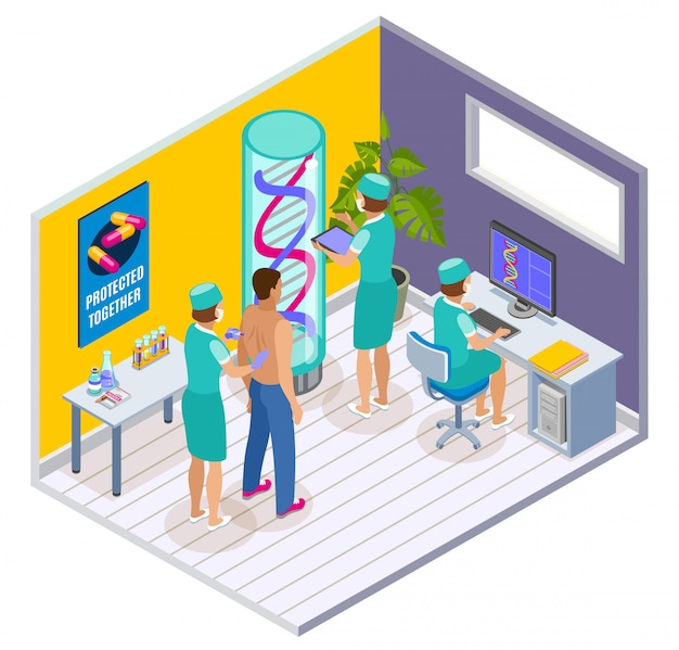 Vaccination isometric indoor composition with clinic surgery room interior elements and patient being vaccinated by doctors