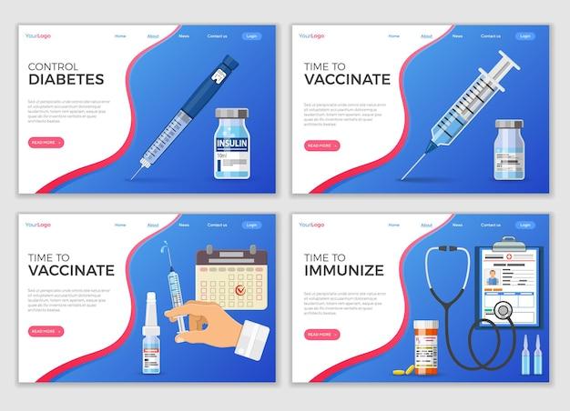 注射器、インスリンペン注射器、インスリンボトル、バイアルワクチン、患者医療カードを含む予防接種ランディングページテンプレート。フラットスタイルのアイコン。ベクトルイラスト