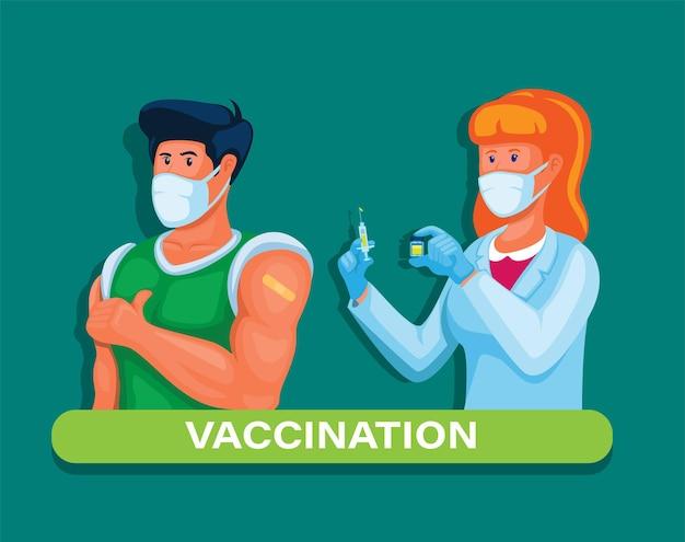백신 접종 남자는 전염병 일러스트레이션 벡터에서 바이러스로부터 면역을 얻기 위해 백신 주사를 받습니다.