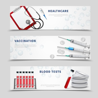 Vaccination medical banners set
