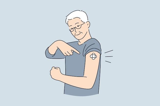 Концепция вакцинации, медицинской помощи и здоровья. пожилой улыбающийся мужчина стоит, показывая вакцинированную руку с сделанной векторной иллюстрацией вакцинации