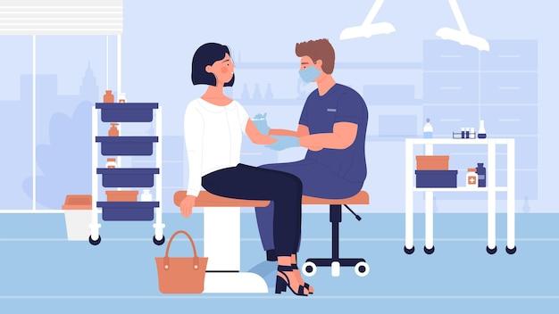 予防接種治療は、女性にインフルエンザワクチンを注射する医師を免疫します