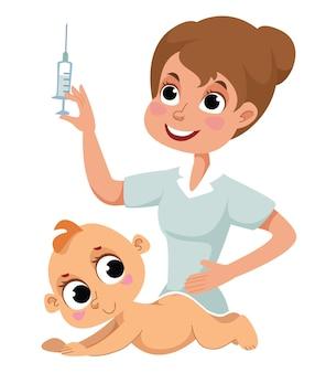 Covid19 코로나 바이러스 전염병 동안 신생아의 예방 접종 간호사가 아기에게 주사