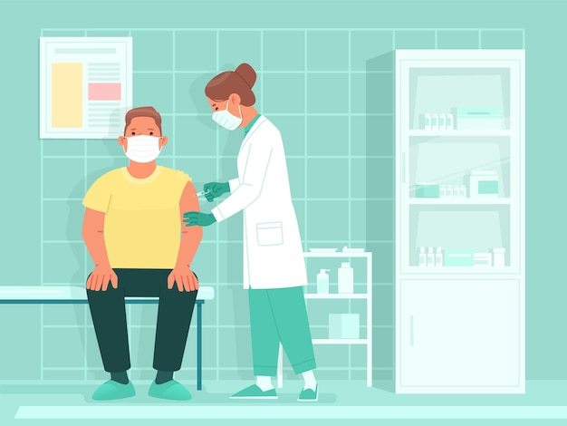 人口医師の予防接種は、コロナウイルスワクチンでワクチングラフト注射器のショットを与えます