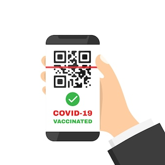 Паспорт вакцинации в иллюстрации смартфона