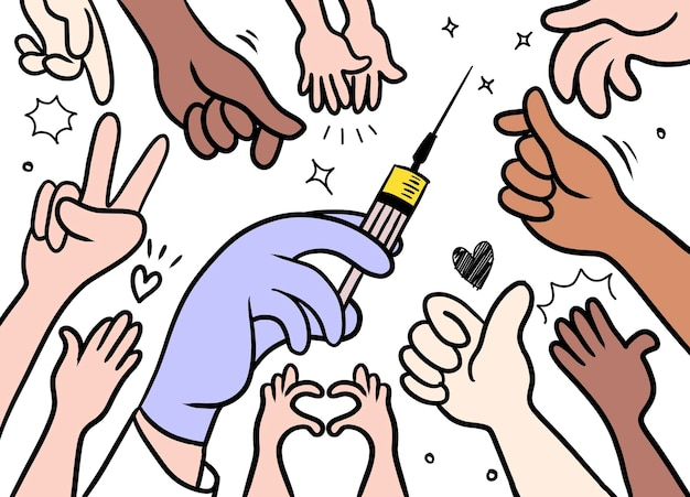 Vaccination of patients. people's hands reaching for a vaccine vial. doodle  style