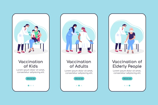 Vaccination of population onboarding mobile app screen flat vector template. walkthrough website 3 steps with characters. creative ux, ui, gui smartphone cartoon interface, case prints set