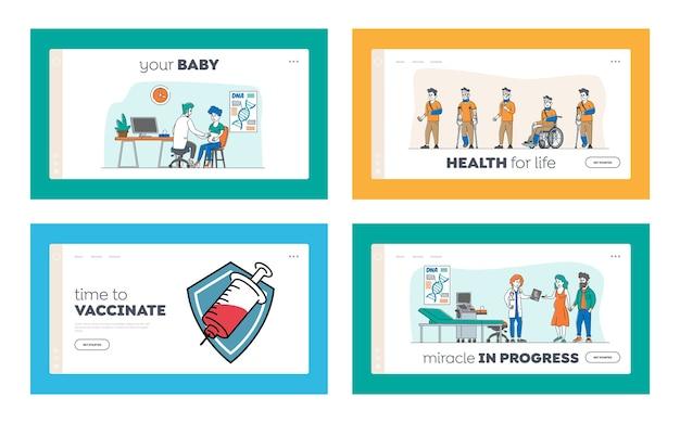 Вакцинация, узи для беременных, набор шаблонов целевой страницы для раненой пациентки. персонажи мужского и женского пола, посещающие клинику для медицинских процедур, обследование. линейные люди