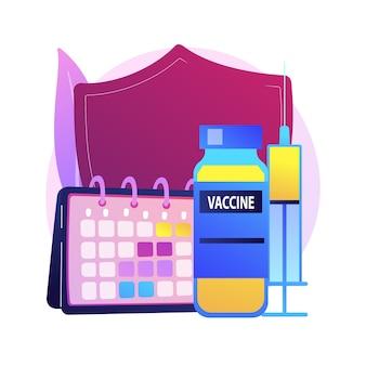 예방 접종 프로그램 추상적 인 개념 그림입니다. 예방 접종 정보, 예방 접종 프로그램, 전염병 예방, 백신, 건강 보호, 공중 보건 추상 은유.