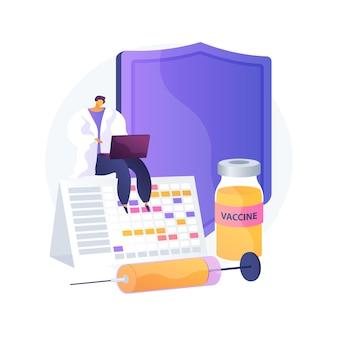 Иллюстрация вектора абстрактного понятия программы вакцинации. информация о вакцинации, программа иммунизации, профилактика инфекционных заболеваний, вакцина, охрана здоровья, абстрактная метафора общественного здравоохранения.